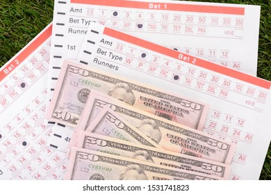 dollar banknotes and betting lists on green grass, sports betting concept
