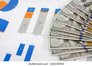 dollar banknotes, business graphs, charts. Close-up.