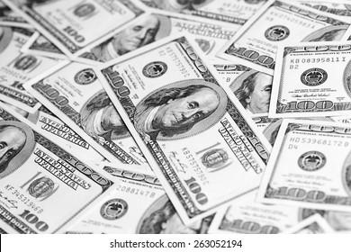 Dollar banknotes close up