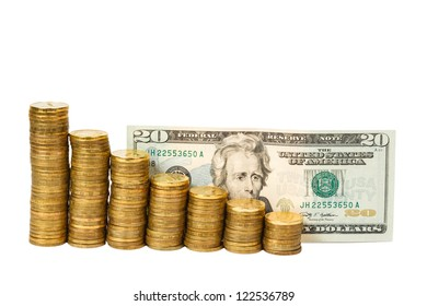 Dollar banknotes and coins on white background