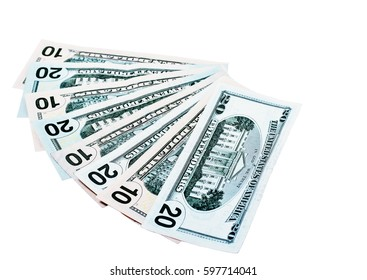 Dollar banknotes fan isolated