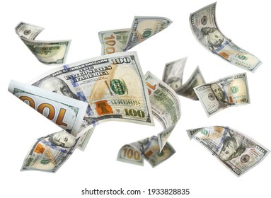 Dollar banknotes flying on white background, collage