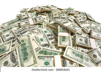 Dollar banknotes heap / studio photography of American moneys of hundred dollar