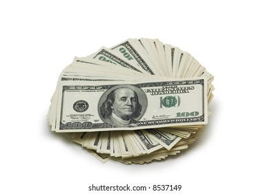 Dollar banknotes isolated on the white background