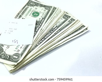 Dollar banknotes on white background.