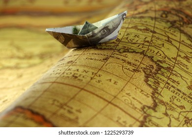 Dollar banknotes with world map