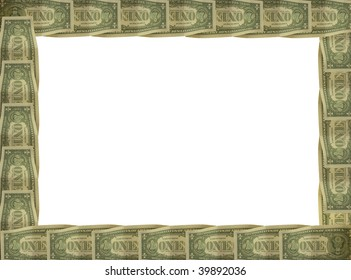 a dollar bill repeated round the edge of a picture frame border