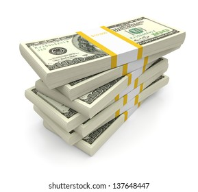 Dollar bill stacks on a white background. 3d image