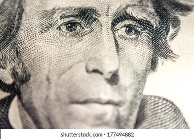 dollar bill,  super macro, president