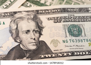 Dollar bills as background close-up. 20 dollar bills located in front and behind. US Currency. Clean and clear dollars.