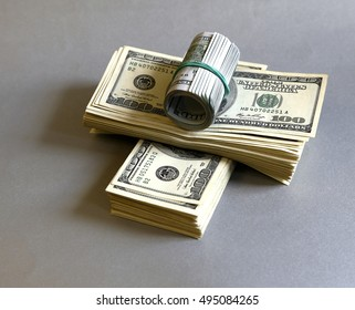 a lot of dollar bills banknotes as a background, or saving in a variety of forms for micro-stock photo