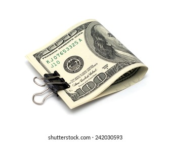 Dollar bills with clip isolated on white background