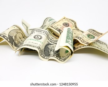 dollar bills of different amounts. Image of the dollar bills in vertical on white background