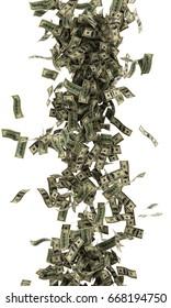 Dollar bills are falling on white background, Tornado dollar bills, Isolated , 3D rendering