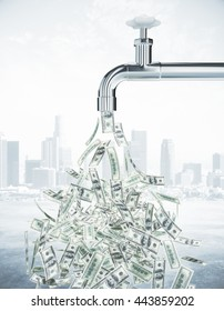 Dollar bills flowing from an open faucet on city background. Financial growth concept. 3D Rendering