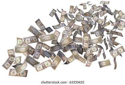 dollar bills flying