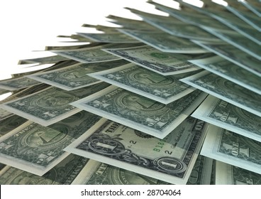 Dollar bills layered on top of each other