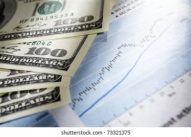 Dollar bills on top of stock chart data paper, very shallow depth of field