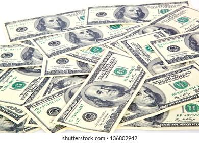 dollar bills on white background