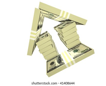 dollar bills pack money house isolated on white