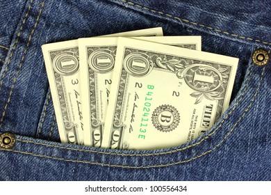 Dollar bills in the pocket