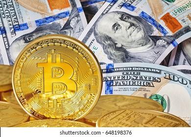 Dollar and bitcoin. Photo Bitcoins close-up (new virtual money ) .Conceptual photo.