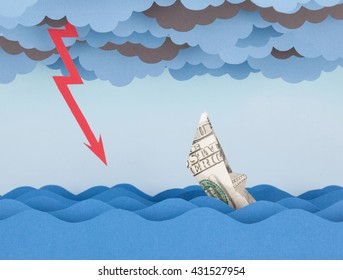 Dollar boat in storm. Money ship is sinking into paper sea.