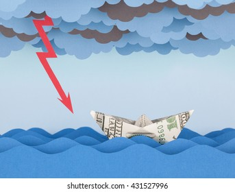 Dollar boat in storm. Paper waves and clouds