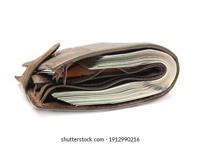 dollar business money in a purse on a white background