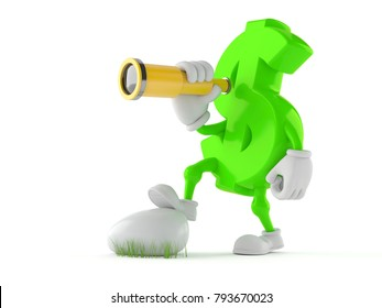 Dollar character looking through a telescope isolated on white background. 3d illustration