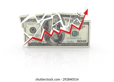 Dollar chart , 3d rendered image.
