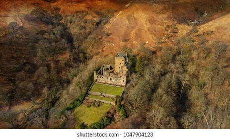 Dollar, Clackmannanshire, Scotland, UK; March 13th 2018: Aerial image of the medieval Castle Campbell.