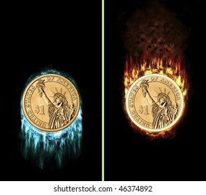 dollar coin with fire flames and icicles, e.g. as button