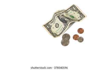 Dollar and Coins on a White Background