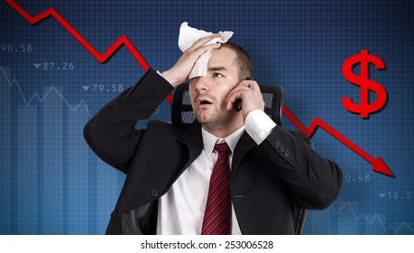 Dollar crisis, currency collapse. Broker holding forehead