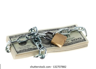 dollar currency notes with lock and chain. money stack for safety and investment.