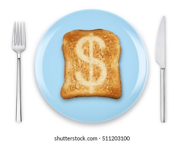 Dollar currency sign burn mark on toast bread with knife and fork on a blue plate, isolated on white background. Slice bread  with dollar sign, concept high price of food or food for business.