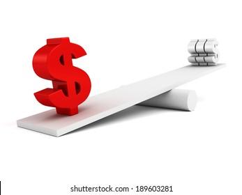 dollar currency symbols on scale balance. business finance concept 3d render illustration