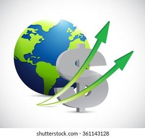 dollar currency up. international business illustration design graphic