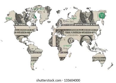 Dollar design inside MAP of the World