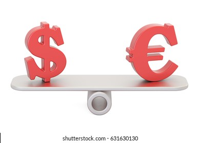 Dollar or Euro, balance concept. 3D rendering isolated on white background