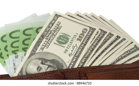Dollar and euro banknotes in the wallet