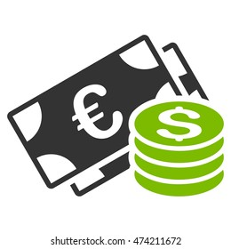 Dollar and Euro Cash icon. Glyph style is bicolor flat iconic symbol, eco green and gray colors, white background.