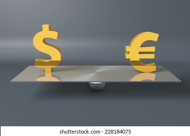 Dollar Euro currency symbols on a balance scale