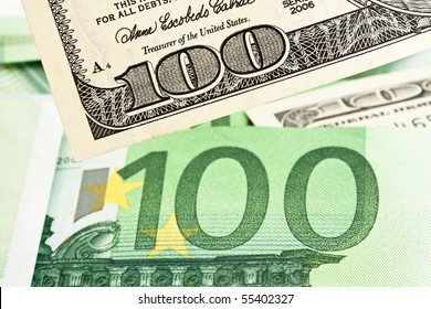 Dollar and Euro notes. Symbol differences Euro Dollar