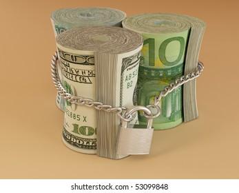 Dollar, euro, ruble on lock. 3d