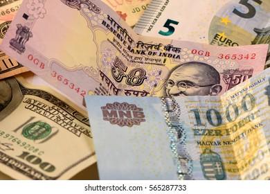 Dollar, Euro, Rupee, and Forint Bills