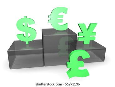 Dollar, Euro, Yen and Pound signs with Podium