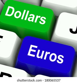 Dollar And Euros Keys Meaning Foreign Currency Exchange Online