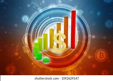 Dollar Financial Success Bar Chart Graph Growing Up. 3d Render Illustration